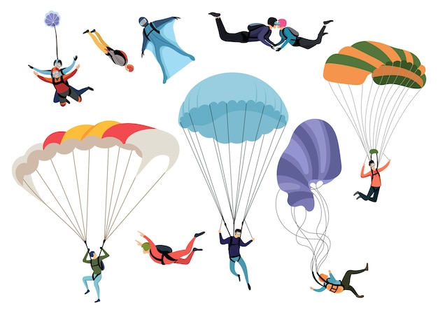 Set van skydivers. verzameling van professionele skydiving mensen. extreme hobby.