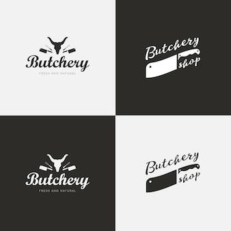 Set van slagerij logo sjablonen. slagersetiketten met voorbeeldtekst. slagersontwerpelementen en boerderijdieren silhouetten voor boodschappen, vleeswaren, verpakking en reclame.