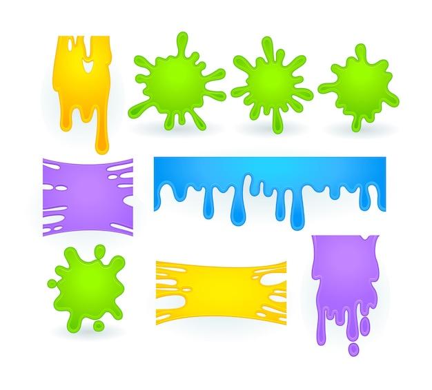 Set van slijmspatten, vloeibare goo van gele, paarse, groene en blauwe vlekken.
