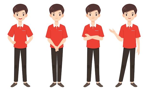Set van slimme man in rood shirt