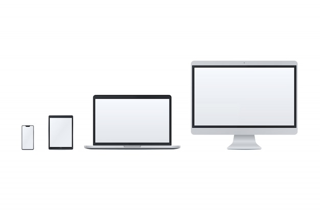 Set van slimme telefoon, tablet pc, laptop, desktop pc