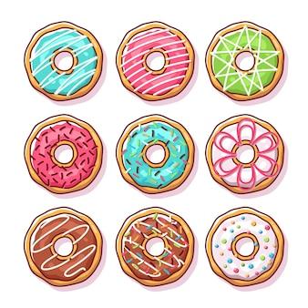 Set van smakelijke donuts geïsoleerd op wit
