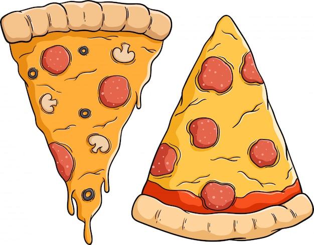 Set van smakelijke pizza slice met pepperoni topping
