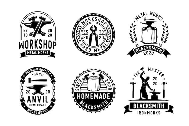 Set van smid ijzeren aambeeld gieterij vintage logo ontwerp