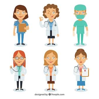 Set van smiley vrouwelijke artsen en chirurg