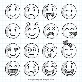 Set van smileys schetsen