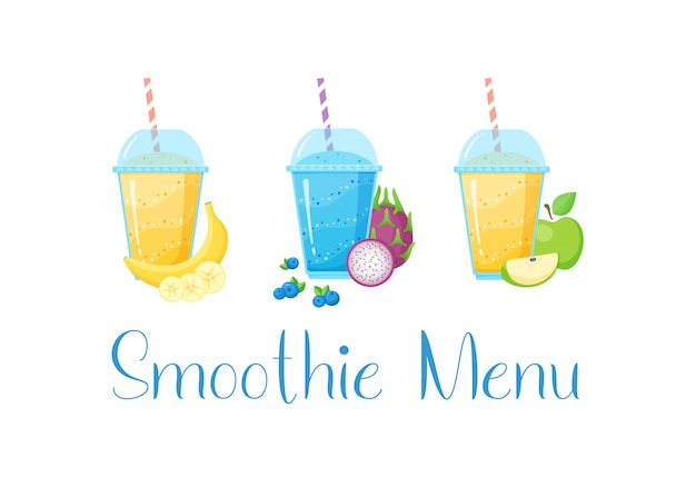 Set van smoothie banner vitamine drank illustratie