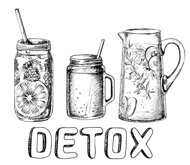 Set van smoothies in verschillende gerechten. superfoods en gezondheid of detox dieet concept in schets stijl.