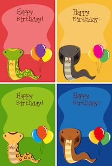 Set van snake gelukkige verjaardagskaarten