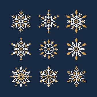 Set van sneeuwvlokken kerstmis ontwerp vector
