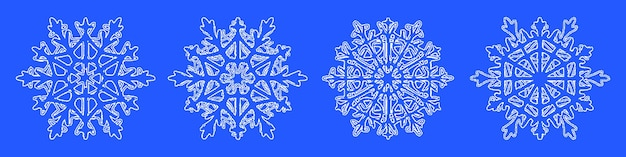 Set van sneeuwvlokken, nieuwjaarsthema, vectorillustratie