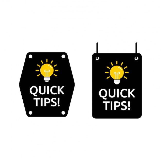 Set van snelle tips in vierkante en zeshoekige vorm. ontworpen in zwarte en gele kleur met lichtpictogram
