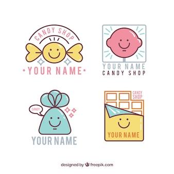 Set van snoep winkel logo's