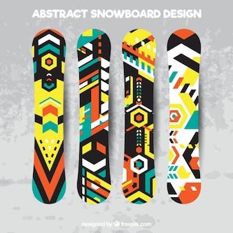Set van snowboards in geometrische stijl