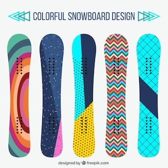 Set van snowboards in modern design