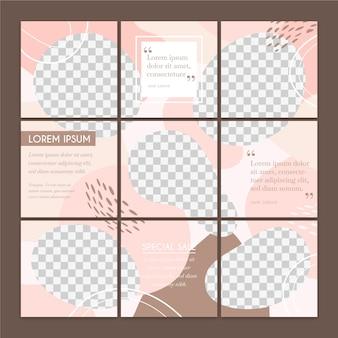 Set van social media puzzel feed posts