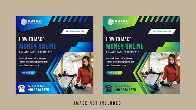 Set van sociale media banner voor online geldconferentie maken.