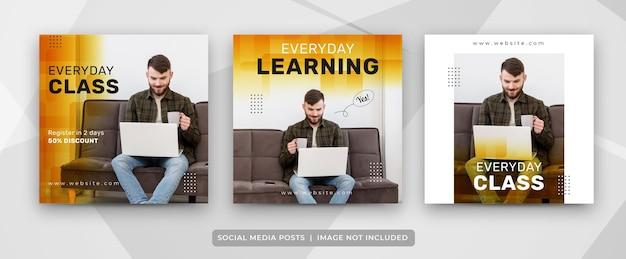 Set van sociale media-berichten voor e-learning