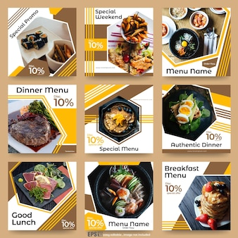 Set van sociale media-berichten voor eten