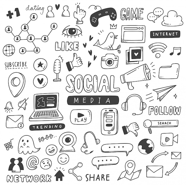 Set van sociale media doodles