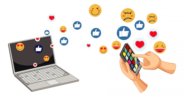 Set van sociale media emoticon