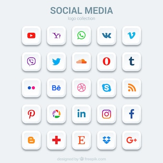 Set van sociale media pictogrammen