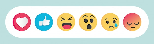 Set van sociale media-reacties van emoticon