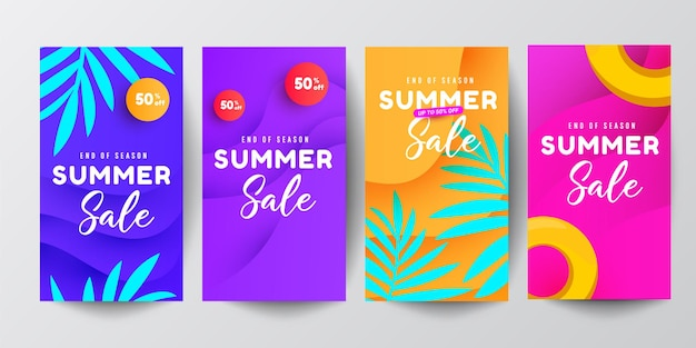 Set van sociale media verhalen ontwerpsjabloon