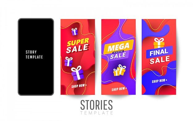 Set van sociale media verhalen verkoop banner achtergrond met veelhoekige verloopvormen.