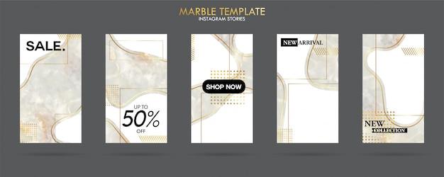 Set van sociale mediaverhalen template pack met luxe trendy marmeren textuur