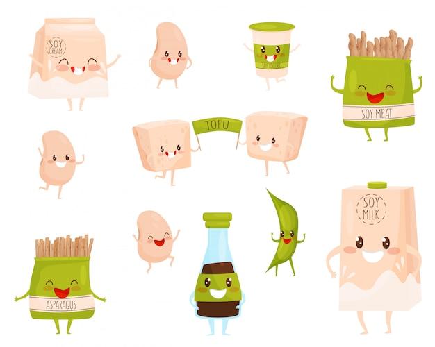 Set van sojaproducten tekens met schattige gezichten. melk en room, kopje yoghurt, sojabonen en vlees, tofu en saus