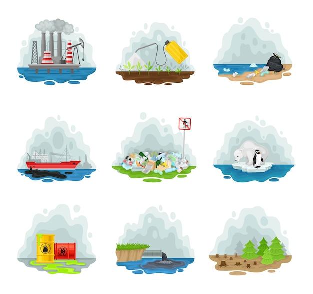 Set van soorten verschillende manieren van luchtverontreiniging