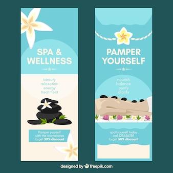 Set van spa center banners met behandelingen