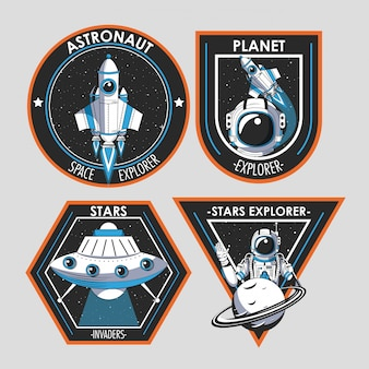 Set van space explorer patches emblemen ontwerp