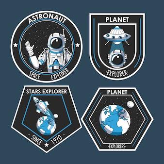 Set van space explorer patches emblemen ontwerp