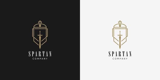 Set van spartaans logo ontwerpconcept