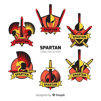 Set van spartaanse badges