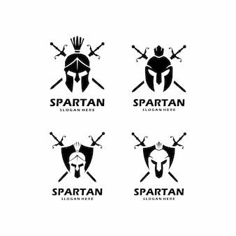 Set van spartaanse logo-ontwerpen