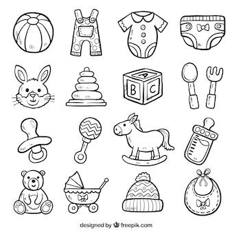 Set van speelgoed schetsen en babyartikelen