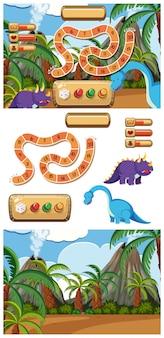 Set van spel met dinosaurussen en vulkaan