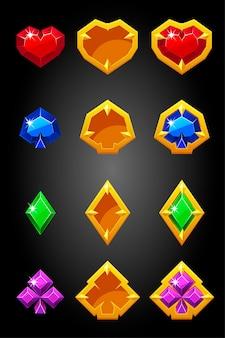 Set van spelkaart past bij pictogrammen constructeur. pokersymbolen, gouden gokbadges.