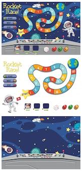 Set van spelsjabloon met astronaut in de ruimte