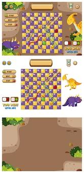 Set van spelsjabloon met dinosaurussen op grond