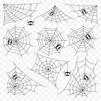 Set van spider web vector sjabloon