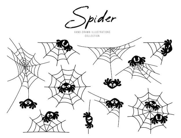 Set van spinnenweb voor halloween, silhouet karakter illustratie.