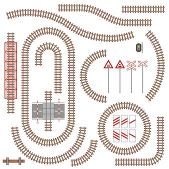 Set van spoorwegonderdelen en verkeersborden. illustratie.