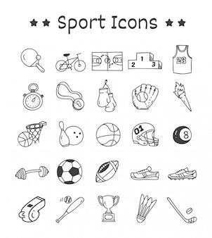 Set van sport iconen in doodle stijl