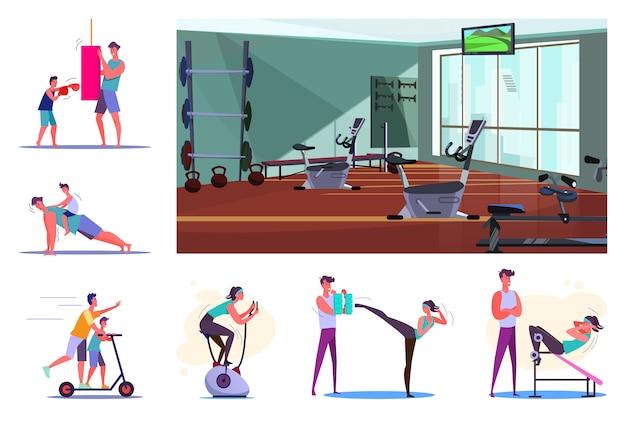 Set van sportieve jongeren training