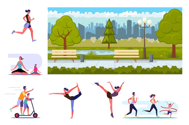 Set van sportieve mensen training