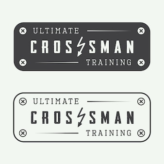 Set van sportschool logo. crossman training